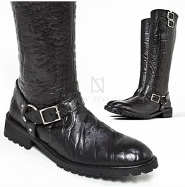 Elephant Pattern Leather High Heel Buckled Long Boots 420
