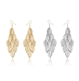 Bohemian Gold Silver Plated Fringed Multilayer Leaves Dangle Drop Earrings