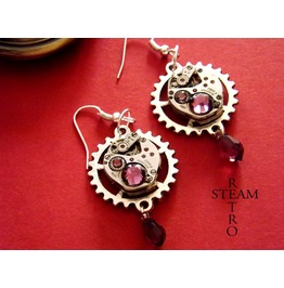 Vintage Watch Movement Amethyst Steampunk Earrings