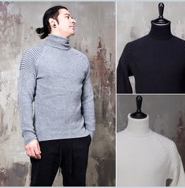 Pintuck Accent Turtle Neck Knit Sweater 58
