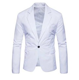 Mens White Solid One Button Lapel Jacket Classic Mod Blazer $5 To Ship