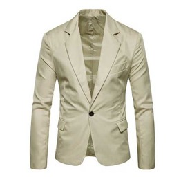 Mens Off White Solid One Button Lapel Jacket Classic Mod Beige Blazer