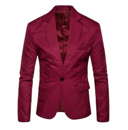 Mens Burgundy Solid One Button Lapel Jacket Classic Mod Blazer $5 To Ship