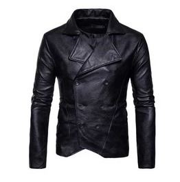 Mens Black Vegan Leather Double Breasted Military Goth Punk Pleather Jacket