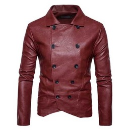 Mens Red Vegan Leather Double Breasted Military Goth Punk Pleather Jacket