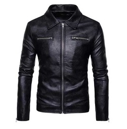 Mens Black Vegan Leather Zip Front Goth Punk Pleather Jacket $5 To Ship