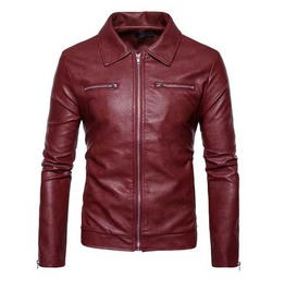 Mens Dark Red Vegan Leather Zip Front Goth Punk Pleather Jacket $5 To Ship