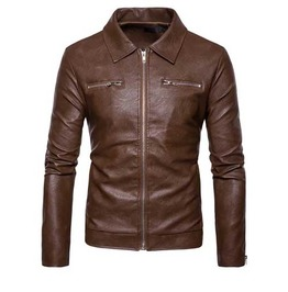 Mens Brown Vegan Leather Zip Front Goth Punk Pleather Jacket $5 To Ship