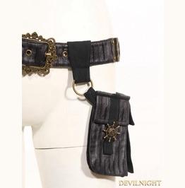Black Leather Steampunk Belt With Pocket Bag Sp 076 Bk
