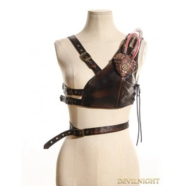 Steampunk Chest Harness With Light Up Metal Heart Sp 075