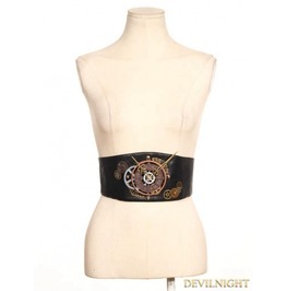 Brown Steampunk Leather Style Clock Belt Sp 060 Bw