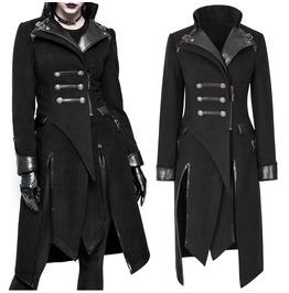 Women Cyber Punk Military Jacket Gothic Black Asymmetric Jacket With Decora