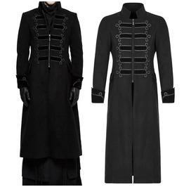 Men Gorgeous Long Black Gothic Coat Exquisite Elegant Punk Men Long Jacket