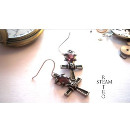 Heavy Cross Amethyst Gothic Earrings Steamretro