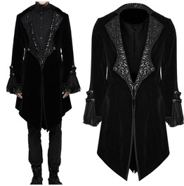 Men Black Velvet Jacket With Baroque Patterns Gothic Vampire Victorian Coat