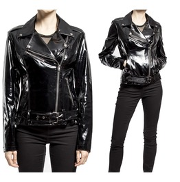 Women Faux Leather Jacket Gothic Motorcycle Style Vinyl Stunning Pvc Jacket