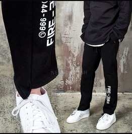 Lettering Accent Unbalanced Cut Hem Sweatpants 281