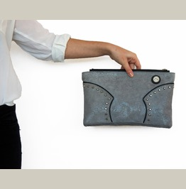 """Unique And One Of A Kind Leather Clutch Bag """"Collision"""""""