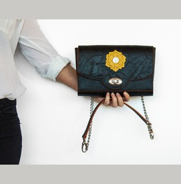 A Unique Hand Stitched Black And Yellow Leather Women Hanbag