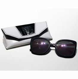 Black And White Leather Sunglasses Case, Leather Sunglasses Protector