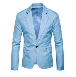 Mens Light Blue Solid One Button Lapel Jacket Classic Mod Blazer $5 To Ship