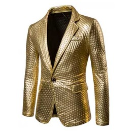 Mens Gold Metallic Shiny Suit Jacket Blazer Flashy Sport Coat $5 To Ship