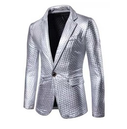 Men's Silver Metallic Shiny Suit Jacket Blazer Flashy Sport Coat $5 To Ship