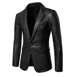 Men's Black Faux Leather Suit Jacket Blazer Flashy Sport Coat $5 To Ship