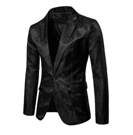 Men's Black Brocade Goth Suit Jacket Victorian Vampire Blazer Sport Coat
