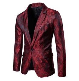 Men's Red Brocade Goth Suit Jacket Victorian Vampire Blazer Sport Coat