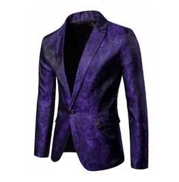Men's Purple Brocade Goth Suit Jacket Victorian Vampire Blazer Sport Coat