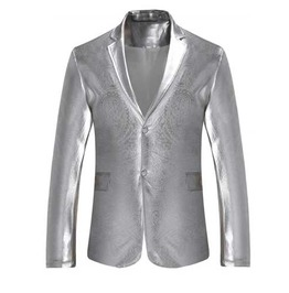 Men's Metallic Silver Two Button Retro Suit Jacket Flashy Blazer Sport Coat