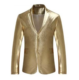 Men's Metallic Gold Two Button Retro Suit Jacket Flashy Blazer Sport Coat