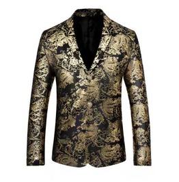 Men's Metallic Gold Paisley Two Button Retro Suit Jacket Blazer Sport Coat