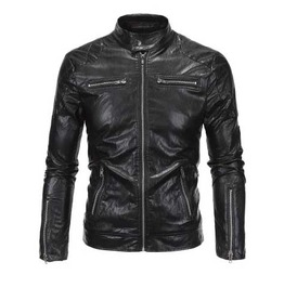 Men's Black Vegan Leather Zip Front Goth Punk Faux Leather Biker Jacket
