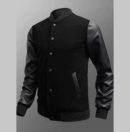 Men's Black Vegan Leather Sleeved Retro Bomber Jacket Add Your Own Patches