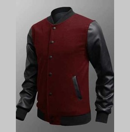 Men's Red Vegan Leather Sleeved Retro Bomber Jacket Add Your Own Patches