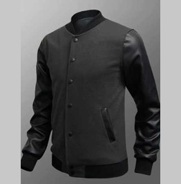 Men's Grey Vegan Leather Sleeved Retro Bomber Jacket Add Your Own Patches