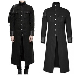 Handsome Men Military Long Coat Uniform Gothic Dieselpunk Cloak With Remova