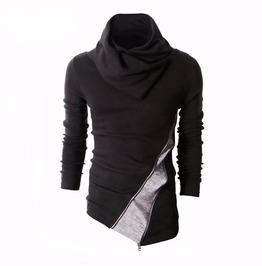 Asymmetrical Diagonal Zipper Black Men Men Sweatshirt