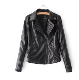 Punk Rock Asymmetrical Zipper Leather Women Jacket