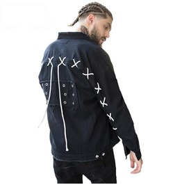 Black Punk Cross Strings Men Jacket