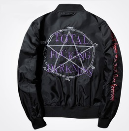 Drink From Me & Live Forever Pentagram Men Bomber Jacket