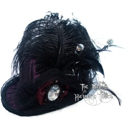 Feathered Cameo Handmade Mini Top Hat