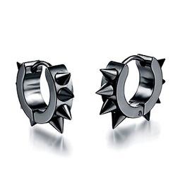 Hardcore! Jet Black Eight Spike Hoop Earrings