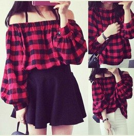 Goth Black And Red Gingham Shirt Top Long Sleeves Off Shoulder