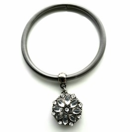 Cool Elasticated Metal Spring Bangle With Beautiful Diamante Flower Charm