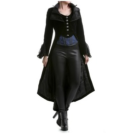 Women Steampunk Jacket Frock Coat Black Velvet Gothic Vtg Victorian Regency