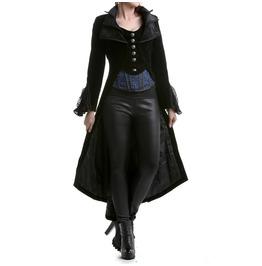 Women Steampunk Jacket Frock Coat Black Velvet Gothic Vtg Victorian Regency