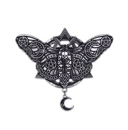 Geometric Occult Moth With Crescent Moon & Pentagram Witch Hair Clip